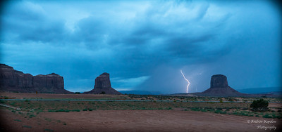 Lightning Strikes at Dusk in Monument Valley