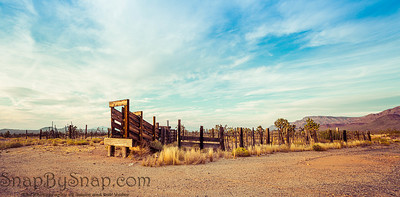 Panorama of an old western corral in the desert of Arizona