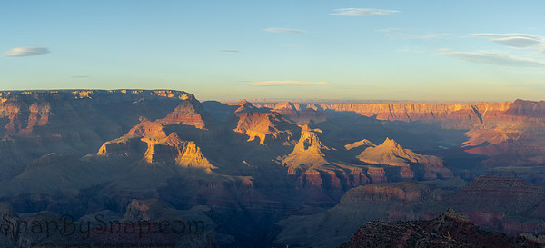 Panorama sunset at the Grand Canyon in Arizona