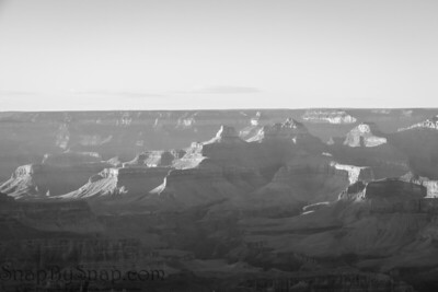 Sunset at the Grand Canyon in Arizona in black and white