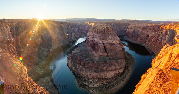 Panorama image of Arizona's Horseshoe Bend near the Grand