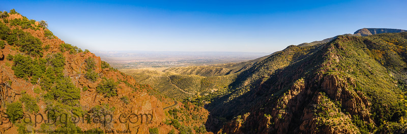 A panorama of a saddle in a mountain in Arizona