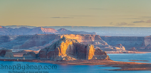 The morning light striking the cliffs of Utah's Grand Staircase-Escalante National Monument with Lake Powell