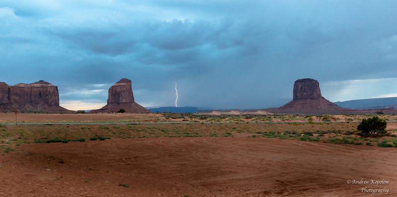 Lightning Strikes at Dusk in Monument Valley