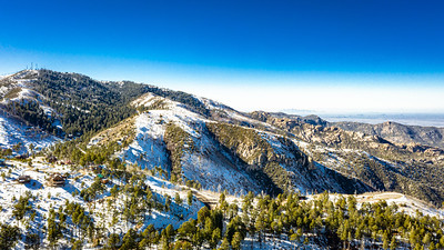 An aerial image of the summit of Mt. Lemmon outside of Tucson, Arizona covered in snow