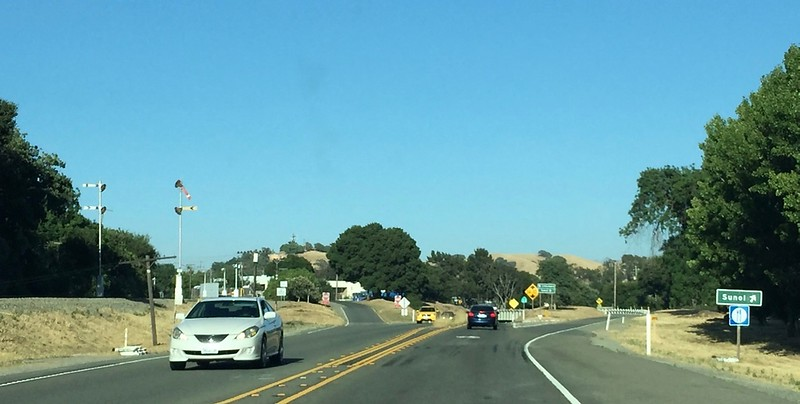 The turn to Sunol, to take the first of two scenic routes to Pleasanton.