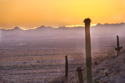 The sun setting behind distant mountains in Arizona with a saguaro cactus in the foreground.