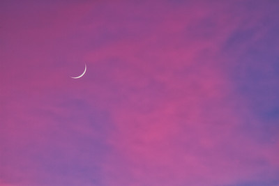 A crescent moon glowing through clouds lit at sunset.
