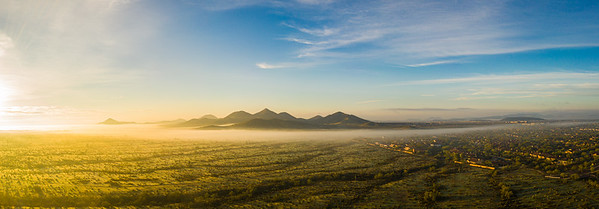 Panorama image from a drone of fog in the Sonoran Desert of Arizona