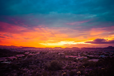 Colorful Sunset over a Desert Community