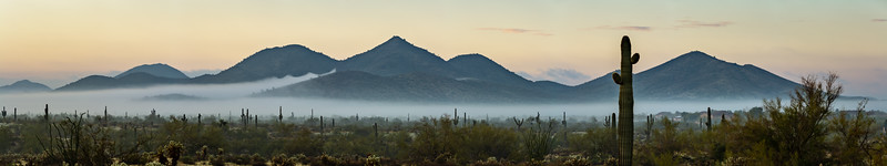 Panorama of a rare morning fog in the Phoenix Sonoran Desert Preserve