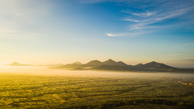 Image from a drone of fog in the Sonoran Desert of Arizona