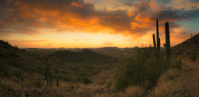 Desert Sunset Panorama Near Phoenix, AZ