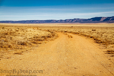 Curved Dirt Road in the Desert Panorama