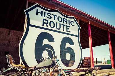 Route 66 Sign with Motorcycle