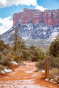 Sedona Arizona Trail with Red Rock Mountains in the Distance with Snow.