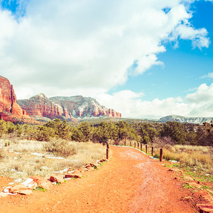 Sedona Arizona Trail with Red Rock Mountains in the Distance.
