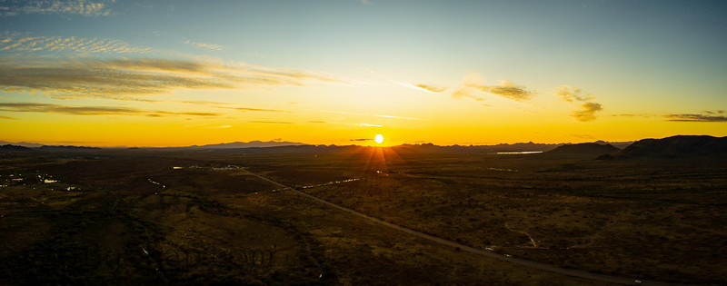 Drone panorama of a sunset over the Sonoran desert of Arizona
