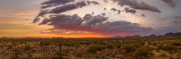 A panorama of a sunset over the Sonoran Desert