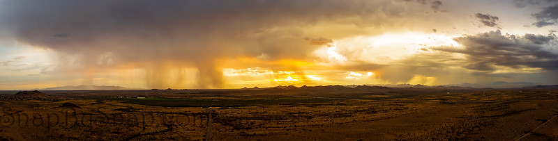 A panorama of a monsoon at sunset