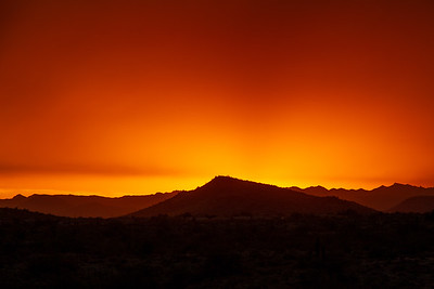 A dramatic cloudy sunset in the desert of Arizona