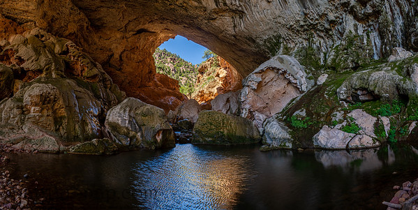 Inside Tonto Natural Bridge Panorama with a Waterfall