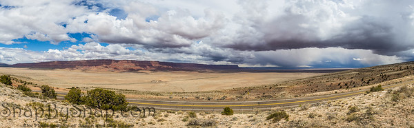 A panorama of the Vermillion Cliffs National Monument in the desert of northern Arizona