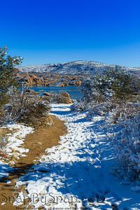 A snowy trail through the desert leading to Watson Lake