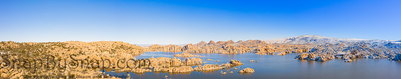 A panoramic winter image of Watson Lake in Prescott Arizona with the Granit Dells