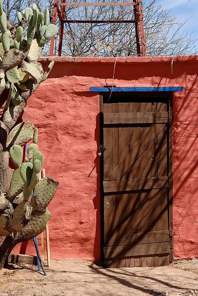 Door on old adobe outbuilding in desert southwest USA.