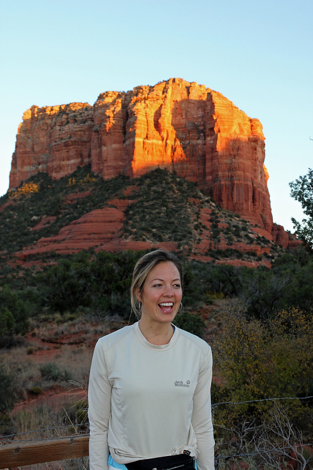 Sedona - The formations appear to glow in brilliant orange and red when illuminated by the rising or setting sun.  And so does Melanie!