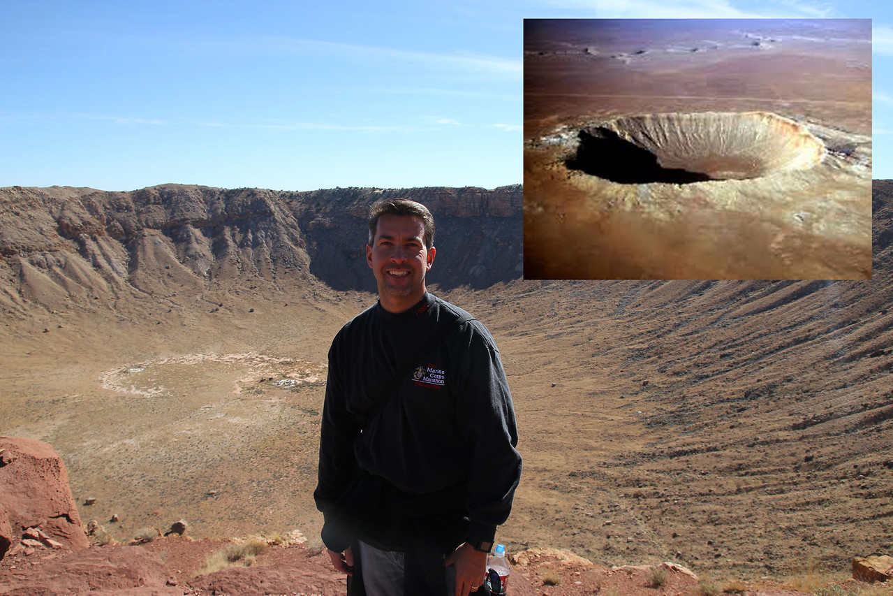 Meteor Crater - The best preserved meteorite crater on Earth.  The crater was created about 50,000 years ago by a nickel–iron meteorite about 50 meters across. Over half a football field wide.