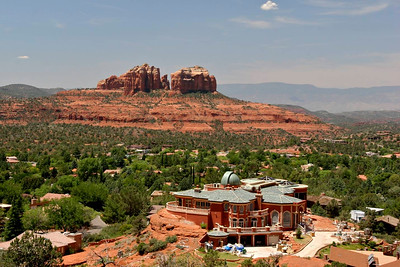 Looking out over the ghastly HUGE home planted smack-dab in the center of our view of Cathedral Rock.  Most other homes BLEND into the natural environment. NOT THIS ONE!  YIKES!!!!
