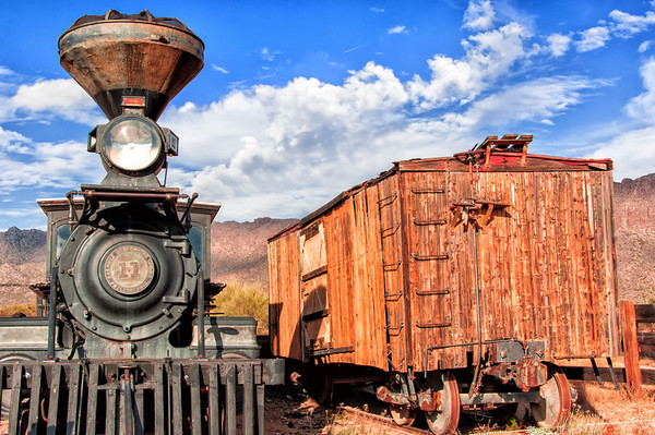 Old train engine and boxcar at Old Tucson Studios.