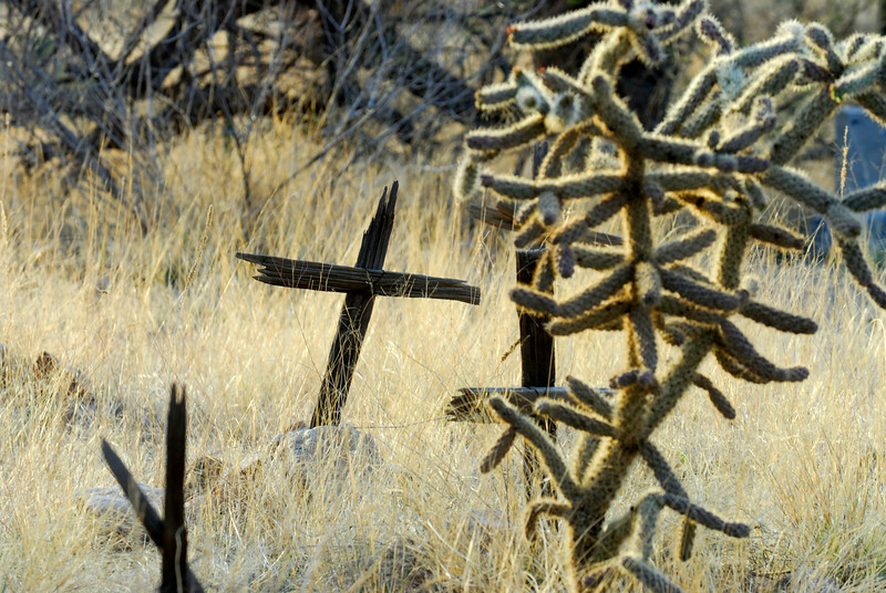 Cemetary outside of old mining ghost town in Helvetia, Arizona