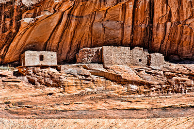 Navajo structures at Canyon De Chelly.