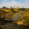 Downtown Little Rock with wildlife refuge boardwalk in foreground