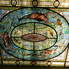 Hot Springs, AR Fordyce Bathhouse tour. Ceiling of the men's bathhouse. There are 8000 pieces of glass in this window.