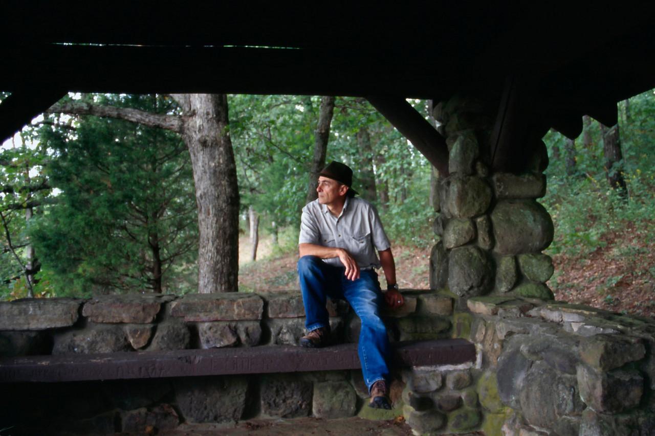 Gary in a CCC pavillion, White Rock Mountain, Arkansas, October, 2007