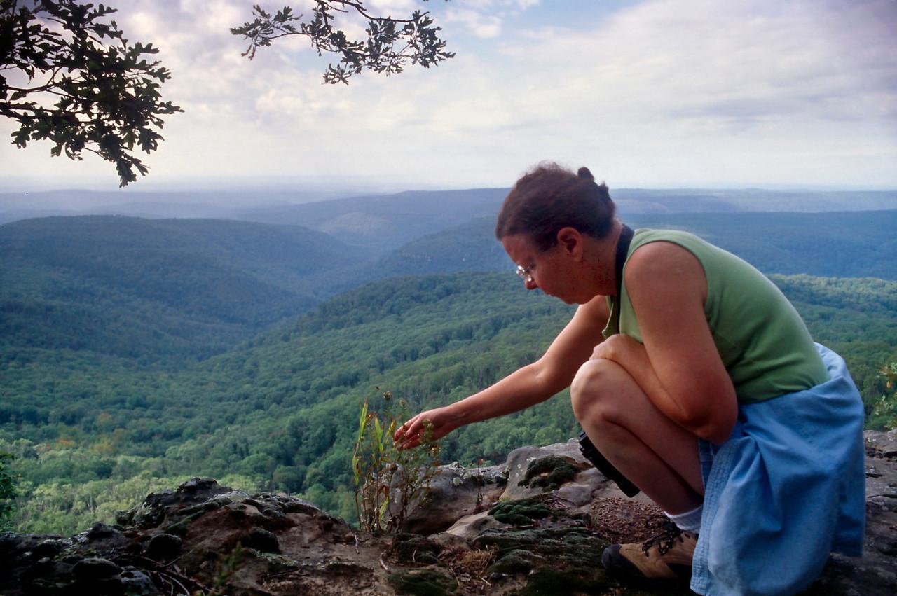 Rita on the rim trail near our cabin, White Rock Mountain, Arkansas, October, 2007