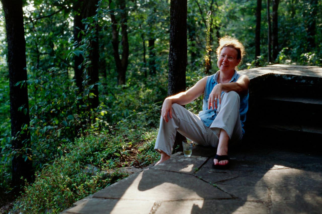 Rita on the veranda of her cabin at White Rock Mountain, Arkansas, October, 2007