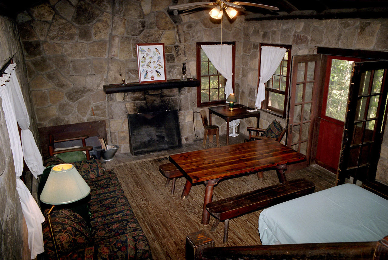Cabin interior, White Rock Mountain, Arkansas.<br /> <br /> Rustic? You bet! Did I mention the walls are full of very industrious nocturnal rodents?
