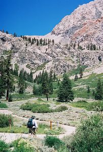 7/8/00 Gilbert at Kearsarge Pass trailhead, Onion Valley. Eastern Sierras, Independence Region, Inyo National Forest, Inyo County, CA
