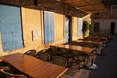 Empty Tables, Arles taken in the morning before tourism existed.