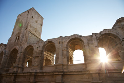 Morning in Arles with sunlight and clear skies in Provence.