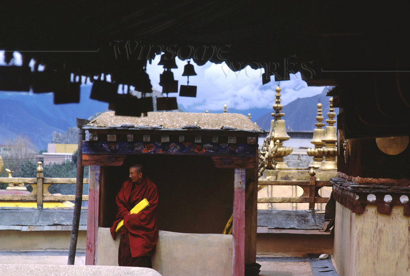 Tibetan Monk on Jokhang Rooftop; Lhasa