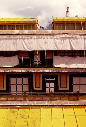Yellow Rooftop on Potala Palace, Lhasa, Tibet-- former home of the Dalai Lama