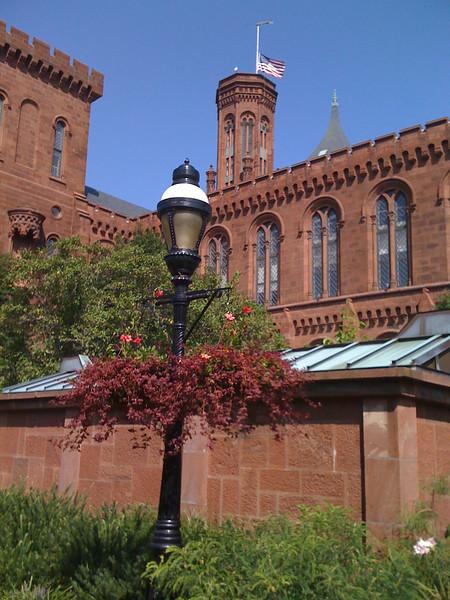 Smithsonian castle flag at half mast for Teddy Kennedy.