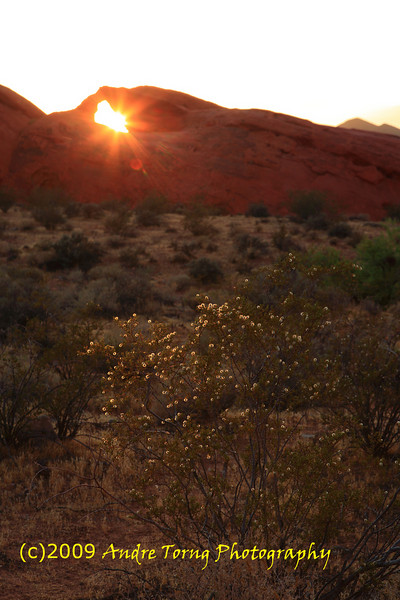 Valley of Fire near LV, Sunset at Arch Rock