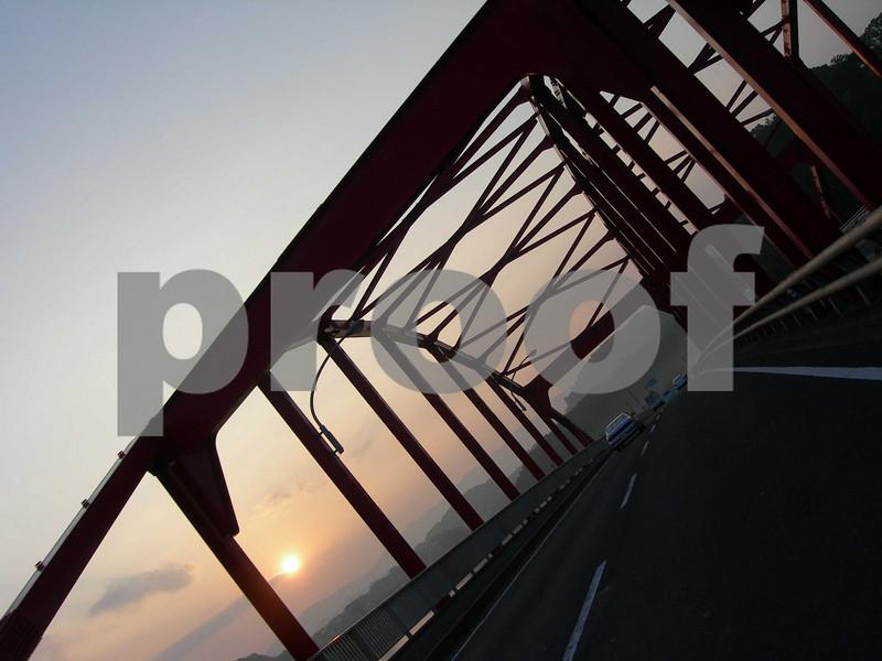 The infamous Red Bridge of Sasebo, Japan.